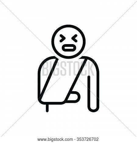 Black Line Icon For Painful Onerous Plaintive Dolorous Diseased Nosogenic Injury Injured Traumatic