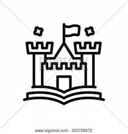 Black Line Icon For Tale Narrative Fable Story Saga Novel  Fort Citadel Castle History Moral-tale