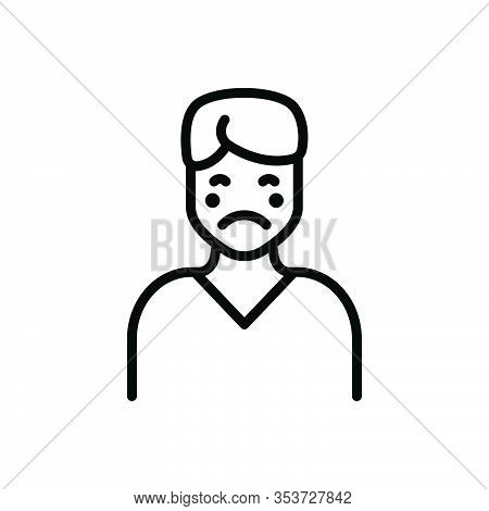 Black Line Icon For Pale Pallid Yellow Paleface Ashy Ashy-gray Disease Illness Sickness Ailment