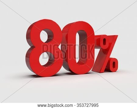 3d Render: Red 80% Percent Discount 3d Sign on White Background, Special Offer 80% Discount Tag, Sale Up to 80 Percent Off,  Eighty Percent Letters Sale Symbol, Special Offer Label, Sticker, Tag