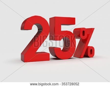 3d Render: Red 25% Percent Discount 3d Sign on White Background, Special Offer 25% Discount Tag, Sale Up to 25 Percent Off,  Twenty-five Percent Letters Sale Symbol, Special Offer Label, Sticker, Tag