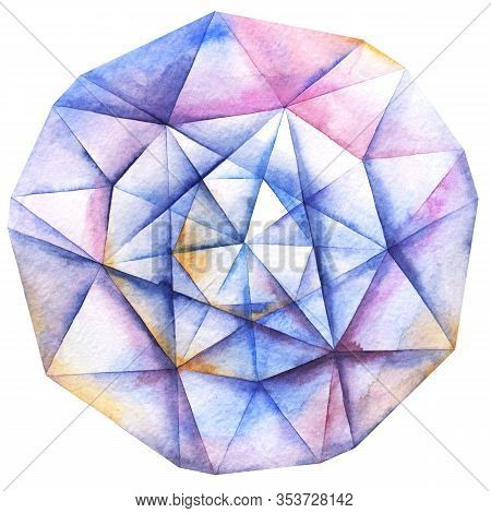 Watercolor Hand Painted Faceted Round Diamond Crystal