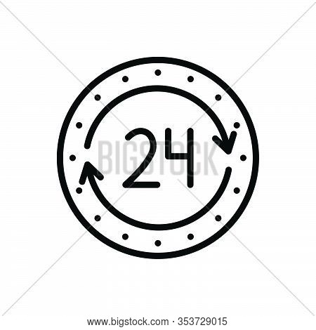 Black Line Icon For 24h Agency Always Anytime Service Assistance Available Emergency Help Hour Conta
