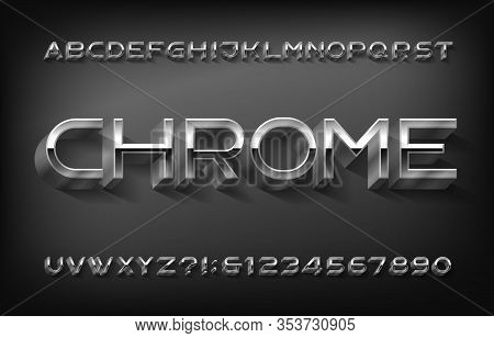 Chrome Alphabet Font. 3d Thin Metallic Letters And Numbers With Shadow. Stock Vector Typeset For You