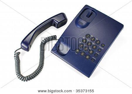 Corded landline telephone, isolated on white