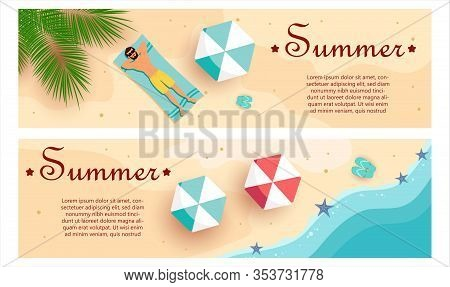 Set of summer gift certificates. Man sunbathes in a swimsuit. View from above. Hello Summer, summer time, summer day, summer day background, summer banners, summer flyer, summer design Unusual design of the coupon used for invitation, gift card and certif