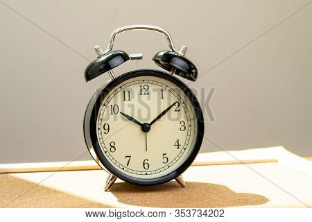 Wake Up Late, Schedule At Ten O'clock Or Afternoon Time Concept, Black Retro Alarm Clock At Ten O'cl