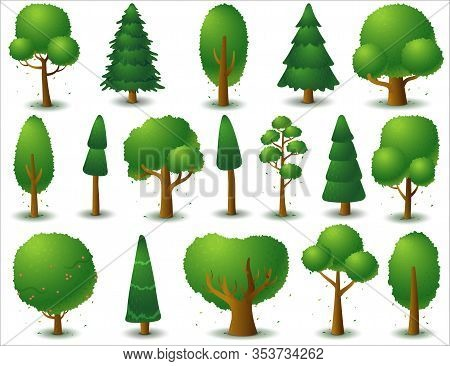 Big Set Of Vector Deciduous And Coniferous Trees. Game Ui Flat. Stylized Tree For Logo, Games Or Car