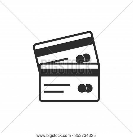 Credit Card Icon, Two Cards On Top Of Each Other, Illustration Credit Card Isolated On White Backgro