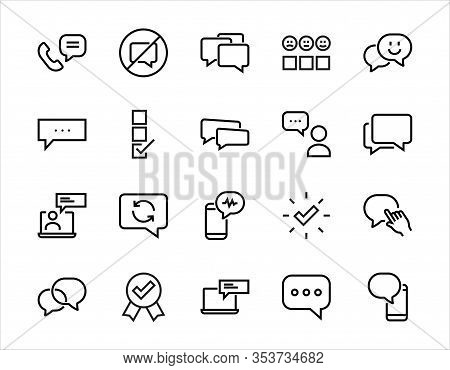 Simple Set Of Message Line Vector Line Icons. Contains Icons Such As Conversation, Sms, Notification