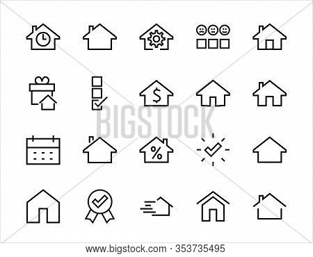 Simple Set Of Line Vector Home Icons. Contains House Symbols At Interest, Infuse House And More. Edi