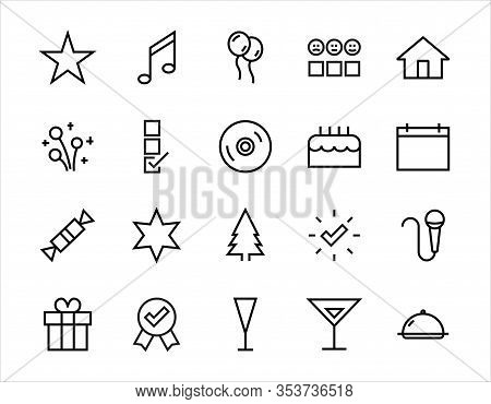 Simple Set Of Celebration Icons Related To Vector Line. Contains Icons Such As Music, New Year, Star