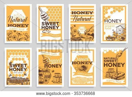 Honey Flyers. Natural Organic Food Beeswax, Honeycomb And Bees Beehive, Jar And Nature Honeyed Flowe