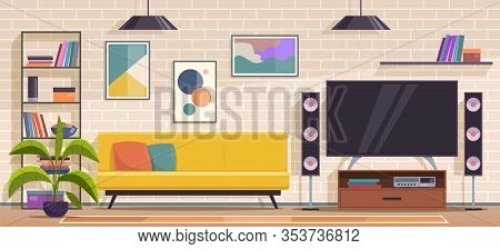 Living Room. Modern Apartment Minimal Interior With Furniture, Sofa And Armchair, Shelves And Tv, Wa