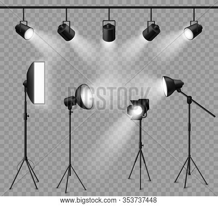 Realistic Spotlight. Illuminated Photo Studio And Stage Light, Floodlights And Softbox Set For Vivid
