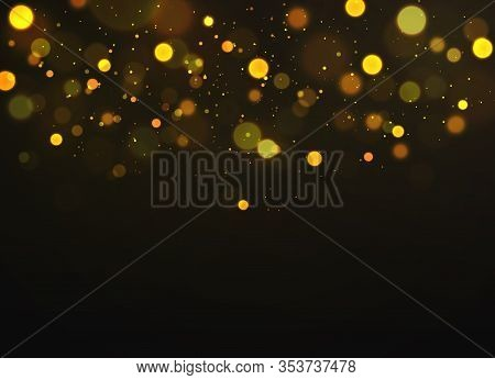 Golden Bokeh. Sparkling Magical Dust Particles Defocused Shimmering Soft Glowing, Magic Christmas Go