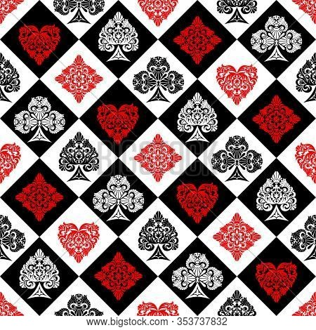 Retro decorative chess cell seamless pattern background with playing card suit symbols