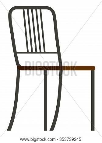 One Piece Of Basic Furniture, Chair For Room Furnishing. Empty Seat With Metal Back, Frame And Legs.