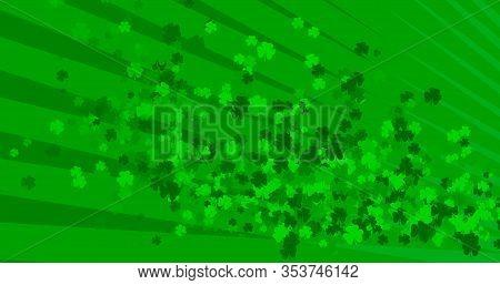 St. Patricks Day Green Leaves Background. Patrick Day Backdrop With Falling Shamrock Leaf Pattern. F