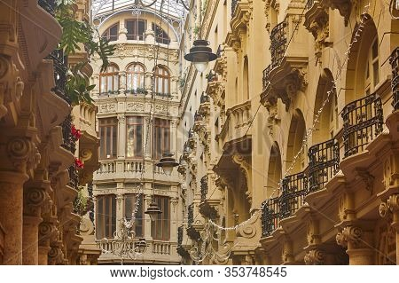 Classic Historical Antique Buildings Facades Passageway In Albacete. Spain