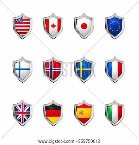 Large Set Of Flags Of Sovereign States Projected As A Glossy Shield On A White Background