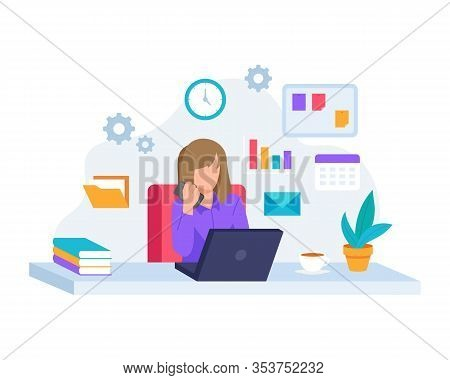Vector Illustration Young Woman Working With Laptop. Concept Illustration Of Working In Office, Mult