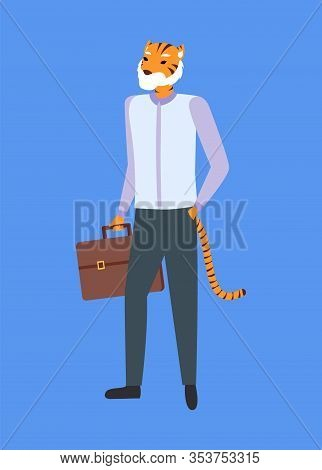 Man With Tiger Head And Tail, Holding Briefcase Isolated On Blue. Vector Hipster Animal, Metaphor Co