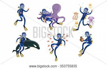 Collection Of Scuba Divers, Underwater Diver Swimming In The Sea Or Ocean With Fishes And Animals Ve