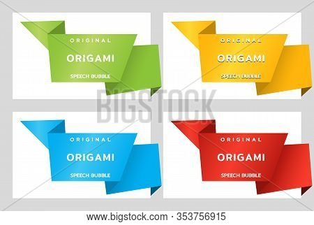 Origami Paper Banners For Side. Price Tag Template For Catalog. Color Stickers. Vector Illustration