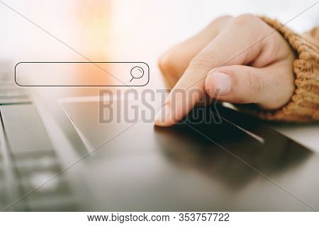 People Hand Using Laptop Or Computor Searching For Information In Internet Online Society Web With S