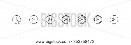 Time Icons. 24h Collection Icons, Isolated On White Background. Watch, Clock 24h In A Row. Panorama
