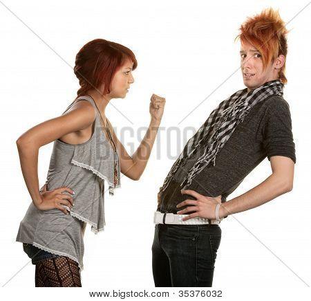 Woman Threatening Boyfriend