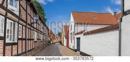 Panorama Of A Half Timbered House In A Colorful Street In Ribe, Denmark