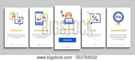 Interpreter Translator Onboarding Mobile App Page Screen Vector. Interpreter In Smartphone And Web S