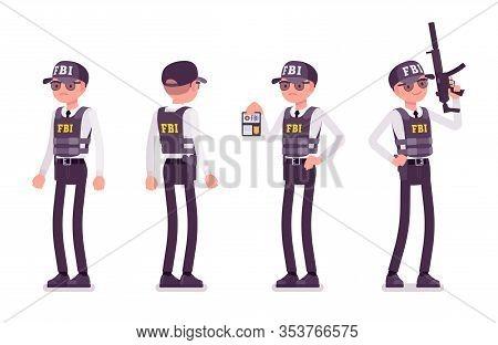 Fbi Agent. Federal Bureau Of Investigation Male Employee In Bulletproof Vest Investigating Crimes, E