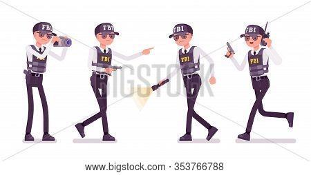 Fbi Agent With Equipment. Federal Bureau Of Investigation Employee In Bulletproof Vest Enforcing Law