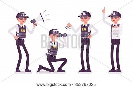 Fbi Agent Job Duties. Federal Bureau Of Investigation Male Employee In Bulletproof Vest Enforcing Fe