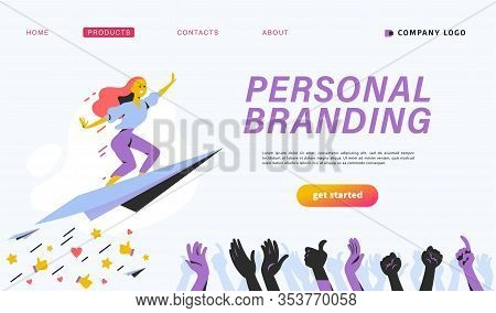 Personal Brand Design Concept With Business Woman Fly Upwards On Paper Plane, Like Thumb Up Icons, H