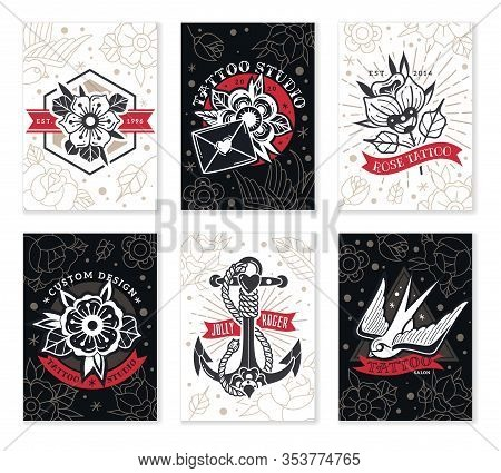 Old School Traditional Tattoo Cards. A Set Of Six Cards Mini Banners On The Theme Of Old School Tatt