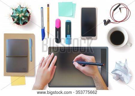 Realistic Desktop Workplace Mockup Identity Set. Realistic Workplace. Desktop Top View. Office Suppl