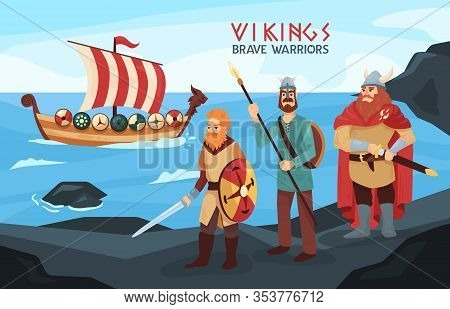 Armed Viking Brave Warriors Seafarers On Black Rocks Seashore With Raid Ready Longship On Background