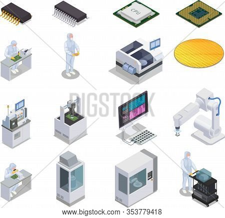 Semiconductor Chip Production Isometric Set Of Isolated Icons With People Microcontrollers And Labor