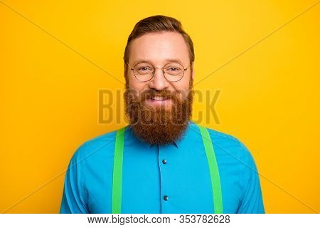 Closeup Photo Of Excited Funny Red Head Guy Toothy Beaming Smiling Elegant Look Wear Specs Bright Bl