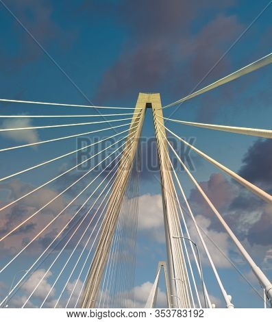 White Suspension Bridge Shot From On The Bridge
