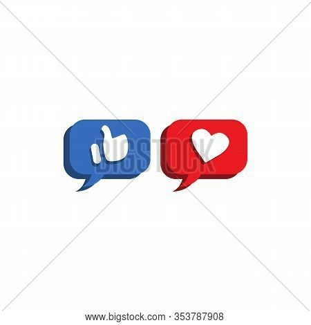 Thumbs Up, Heart, Like Vector Icon. Message Like Icon. Vector Symbol