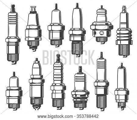 Spark Plugs Types, Car Ignition System And Spark-ignition Engine Spare Part. Vector Isolated Vehicle