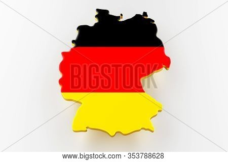 3d Map Of Germany. Map Of Germany Land Border With Flag. Germany Map On White Background. 3d Renderi