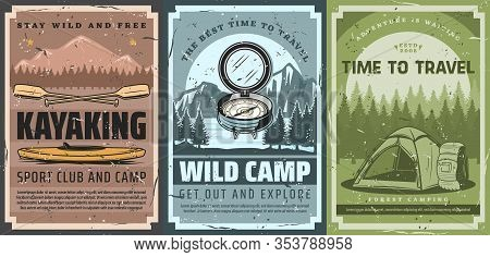 Hiking, Forest Camping And Kayaking Outdoor Adventure, Sport Tourism And Trekking Travel Vintage Ret