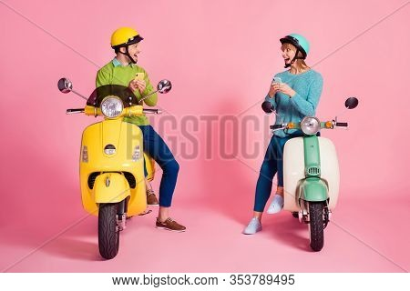 Full Body Photo Of Millennial Lady Guy Two People Sit Vintage Moped Vacation Short Stop Browsing Tel