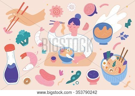 Ramen Illustrations Set, Woman With Chopsticks In Hand Eating Ramen Noodle Soup, Asian And Japanese